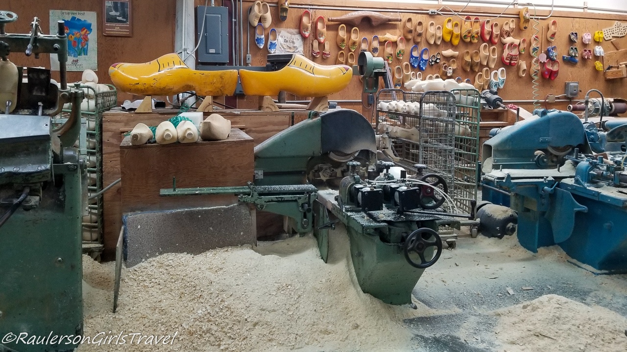 Making Dutch wooden shoes at Veldheer Tulip Gardens