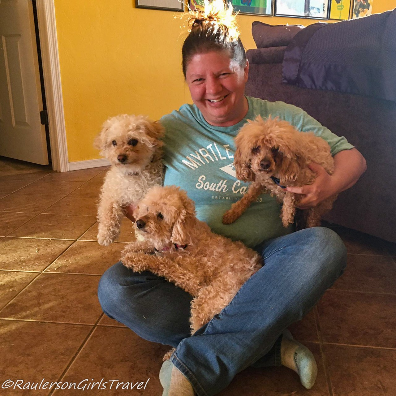Heather with Gidget, Buddy, and Abigail