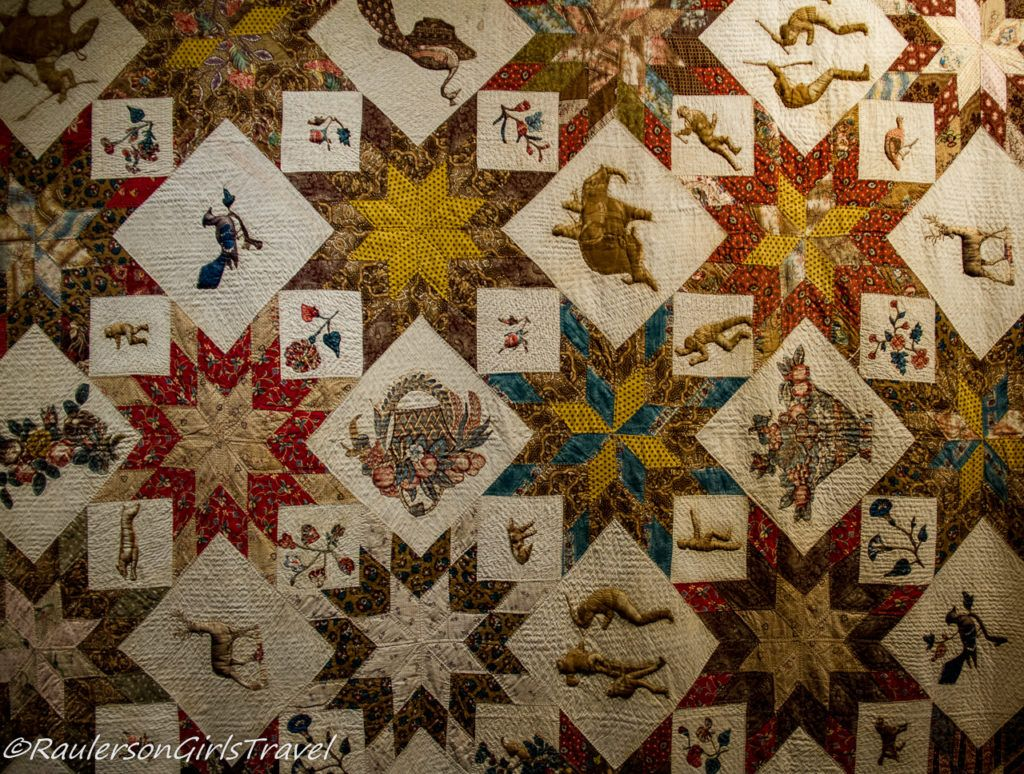 Close-up of The George Winter Wedding Quilt c. 1845