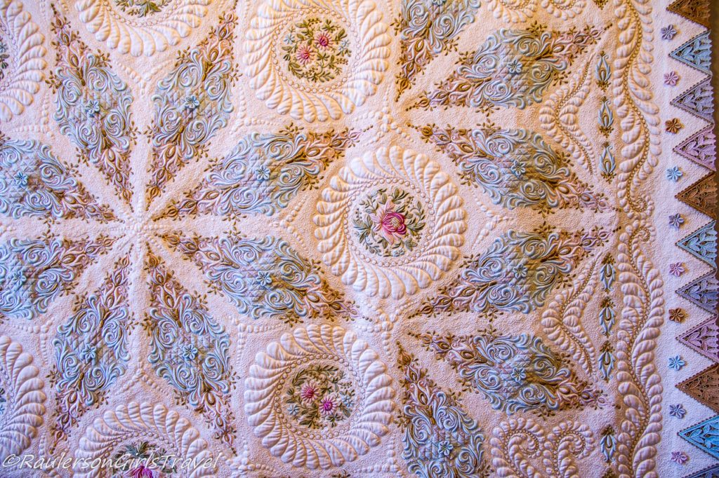 Hand quilted White, Blue and Purple Quilt