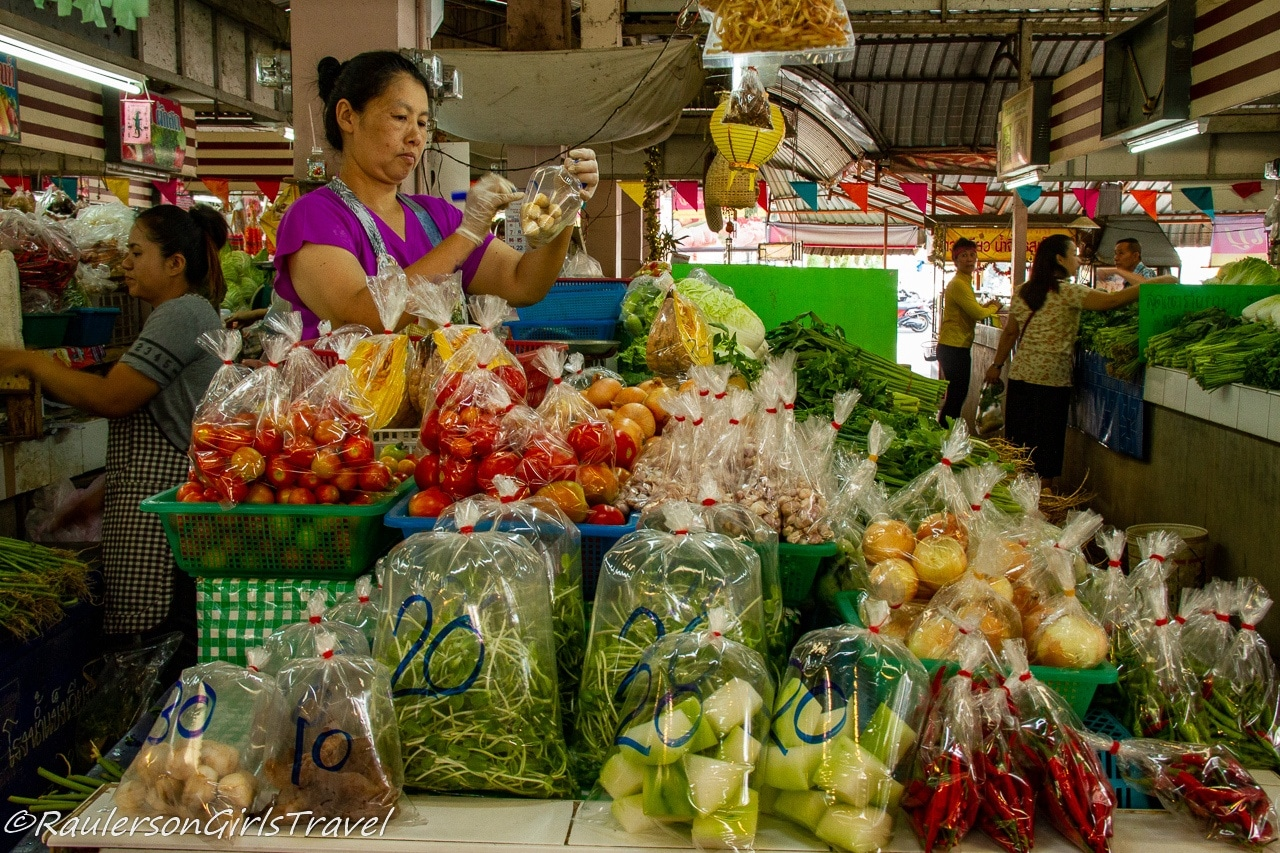 Bagged vegetables in a Thai market