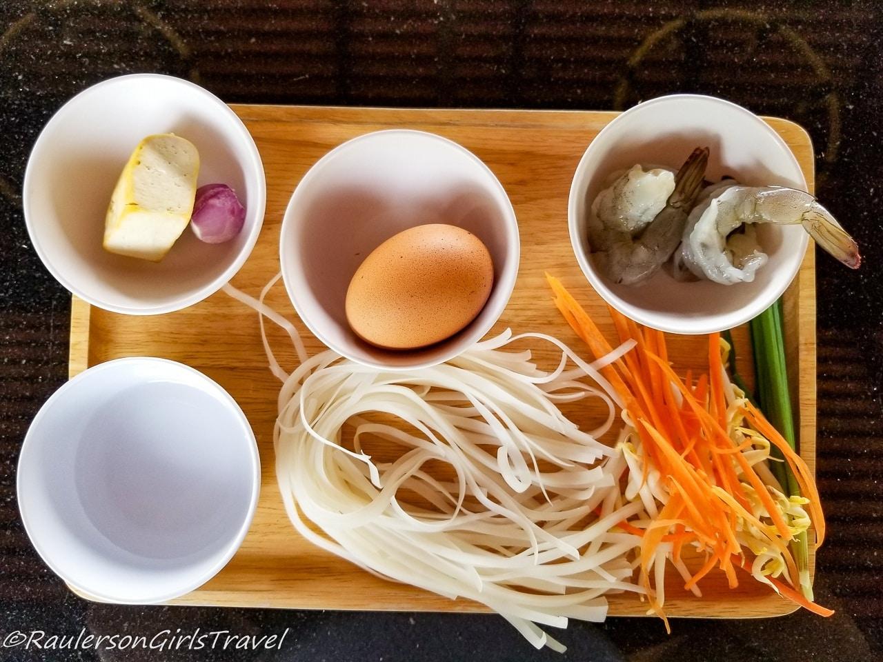 Prep ingredients for Pad Thai