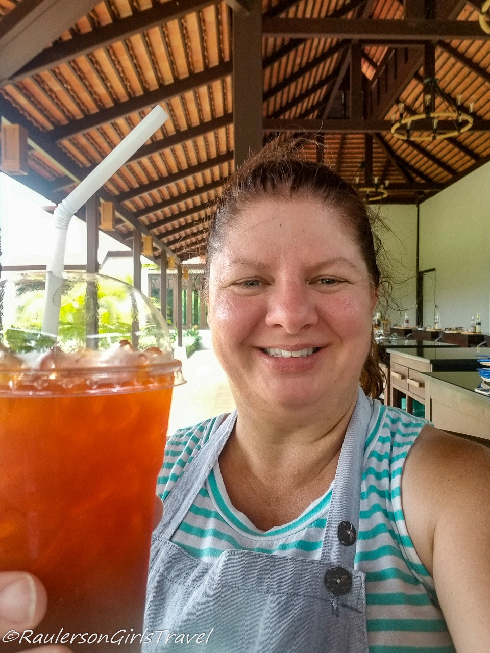 Heather with a cool drink after the Thai cooking class
