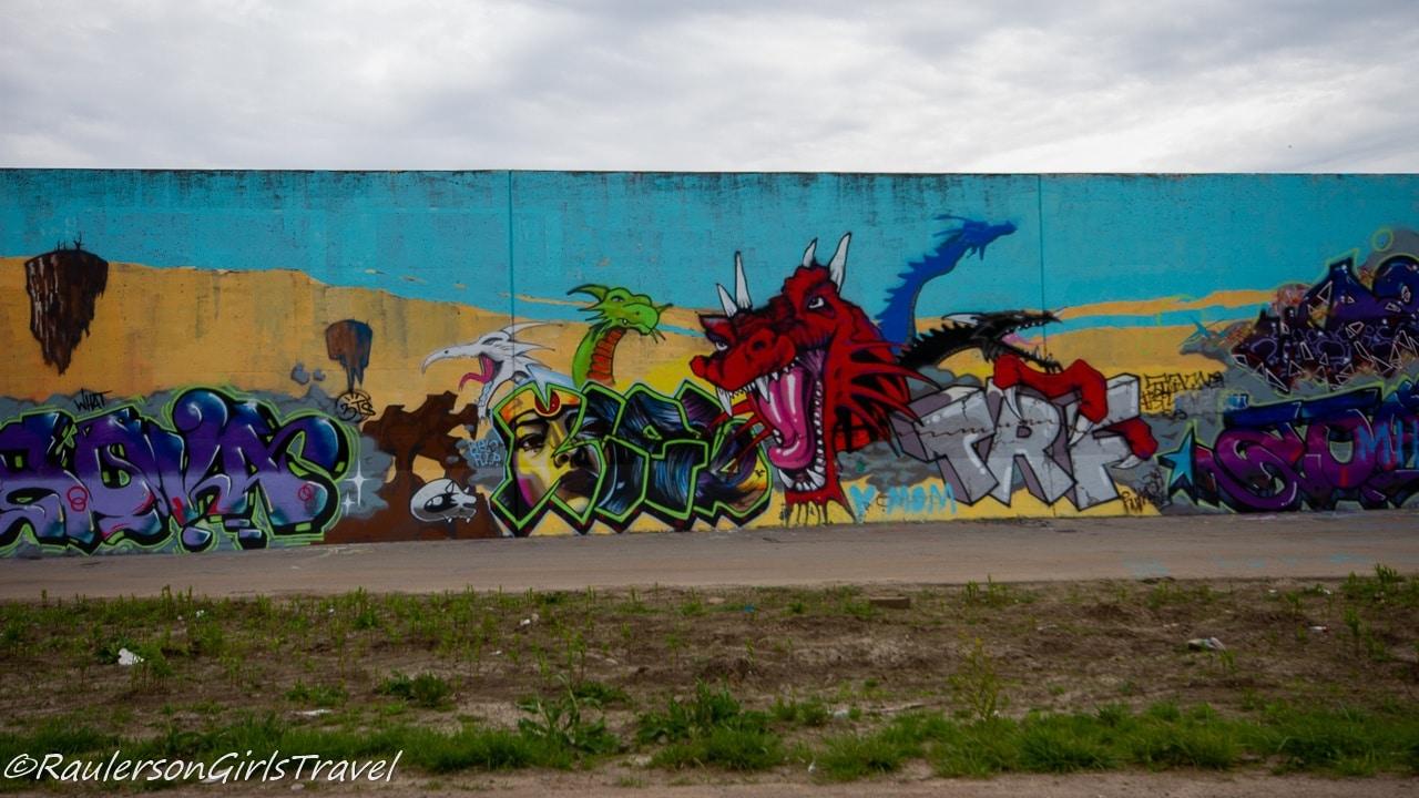 Dragon street art on the Mural Mile