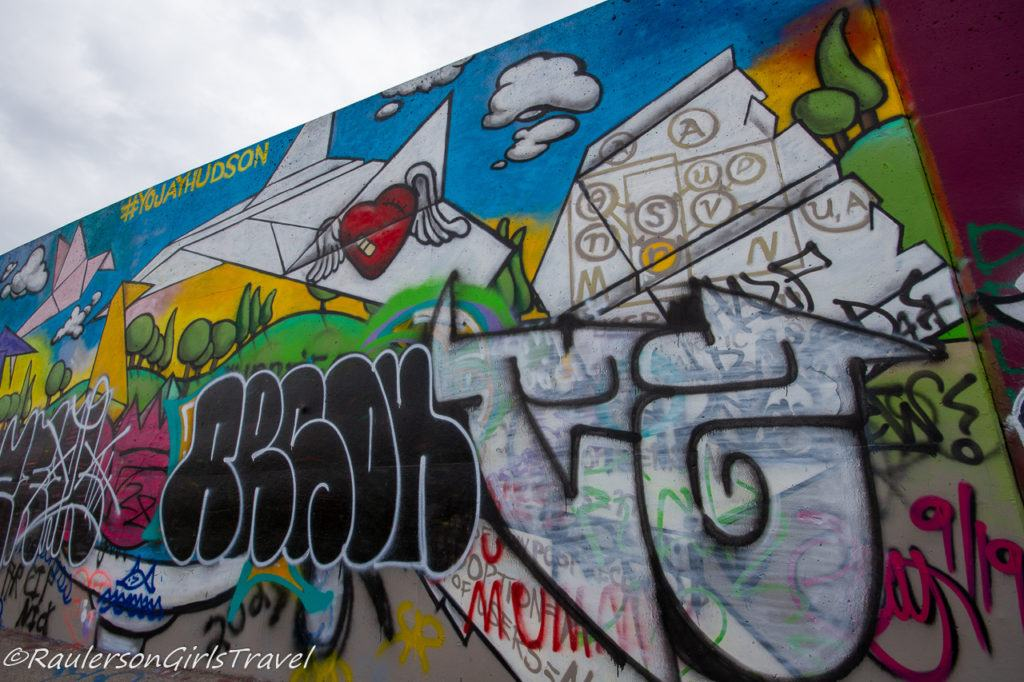 Paper airplanes street art at the Mural Mile
