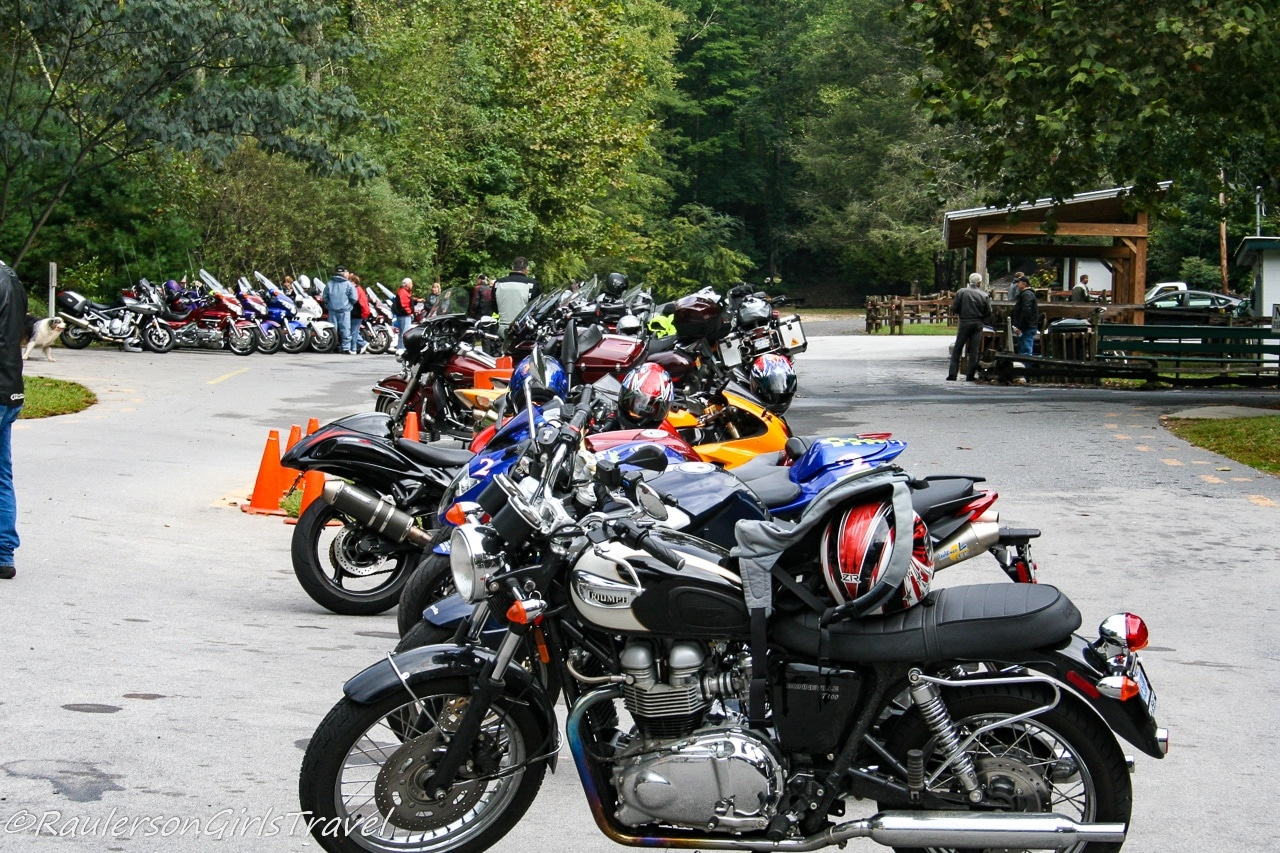 Rows of Motorcycles at the Deals Gap Motorcycle Resort