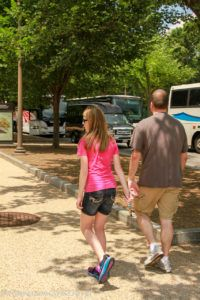 Father and Daughter walking together in Washington D.C.