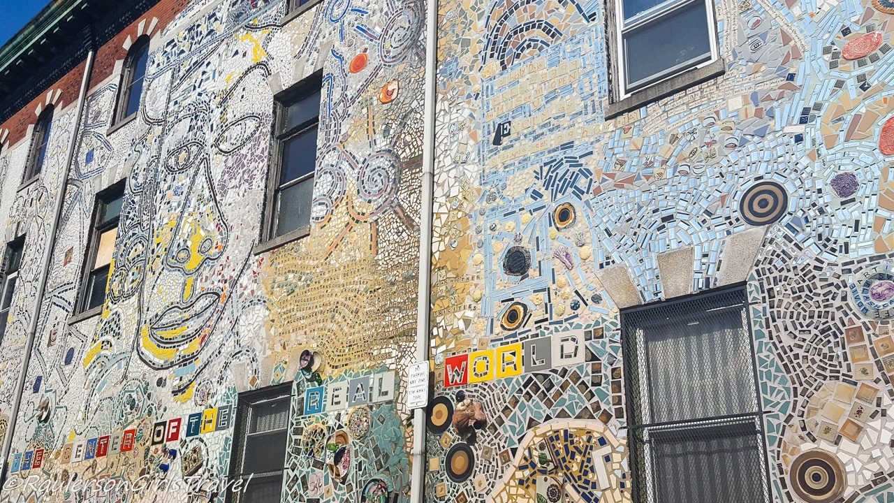 Isaiah Zagar's artwork on the side of a building in Philly