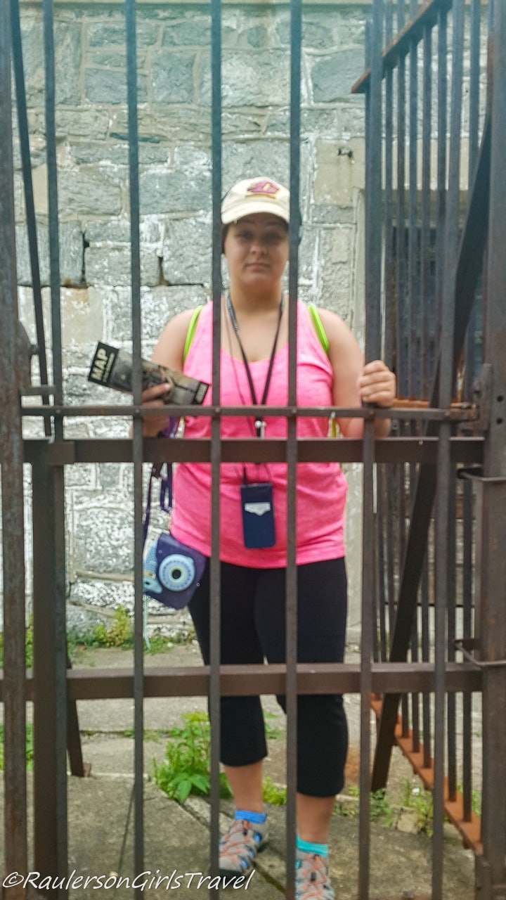 Kayla behind bars at Eastern State Penitentiary