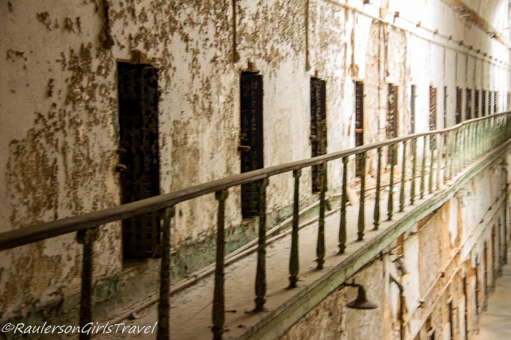 Side view of an abandoned cell block
