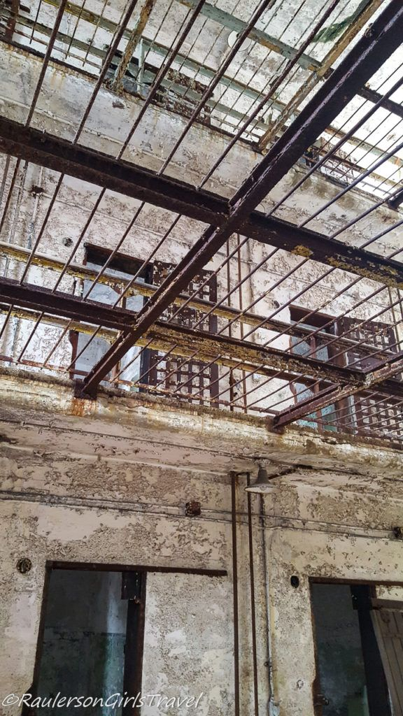 Looking up to the second floor of the cell block