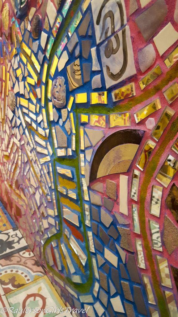 Colorful mosaic tiled wall