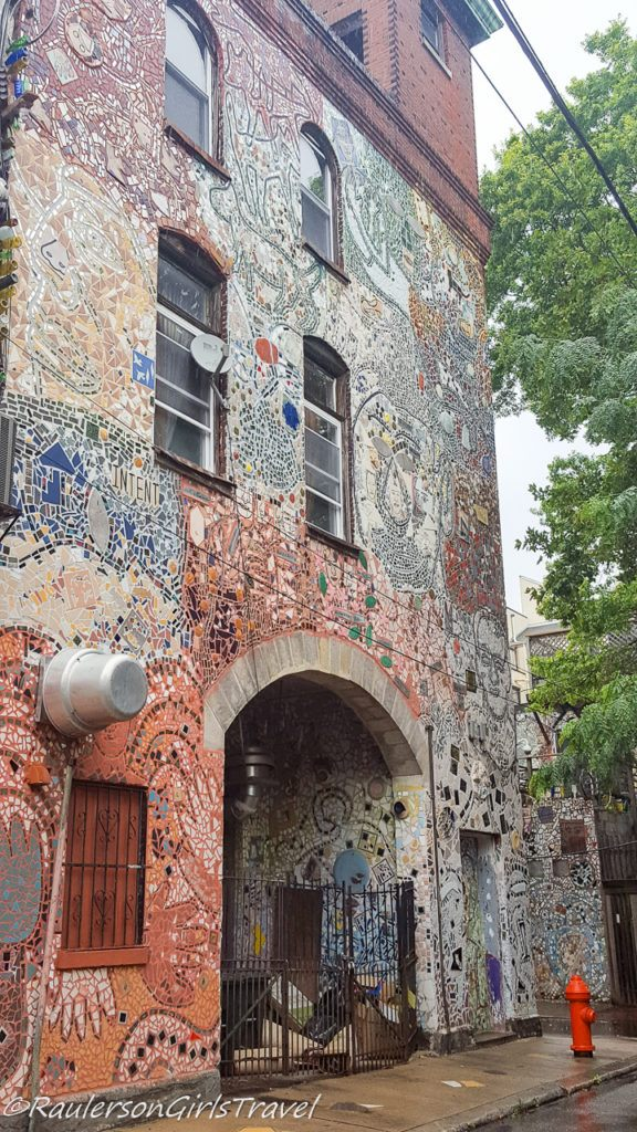 One of Isaiah Zagar's art installations on a side of a building in Philly