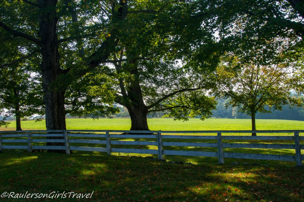 White wood fence, trees, and field at Canterbury Shaker Village