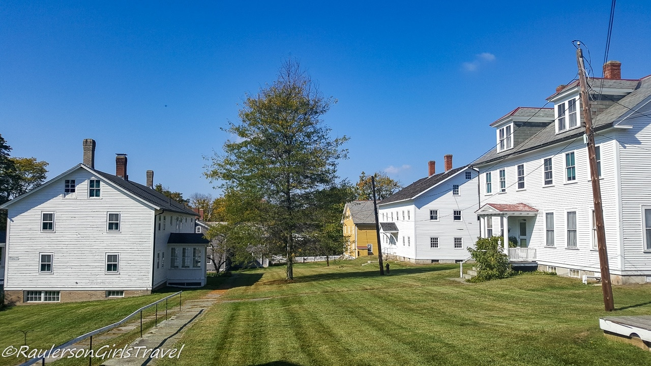 Creamery, Brethren's Shop, and Carriage House on the right at Canterbury Shaker Village