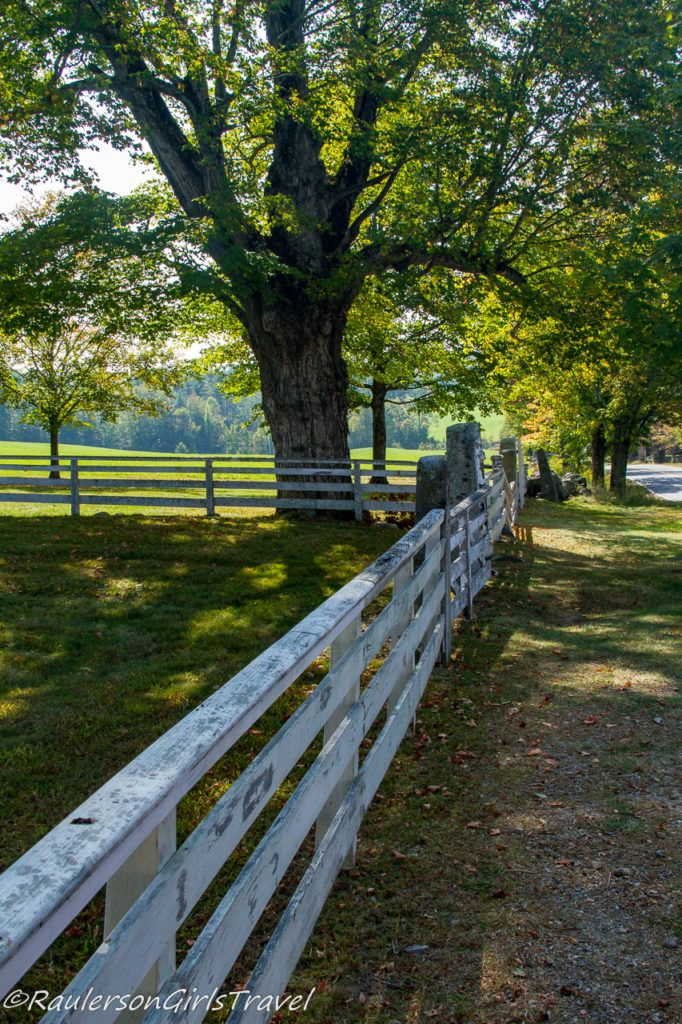Edge of a white wooden fence at Canterbury Shaker Village