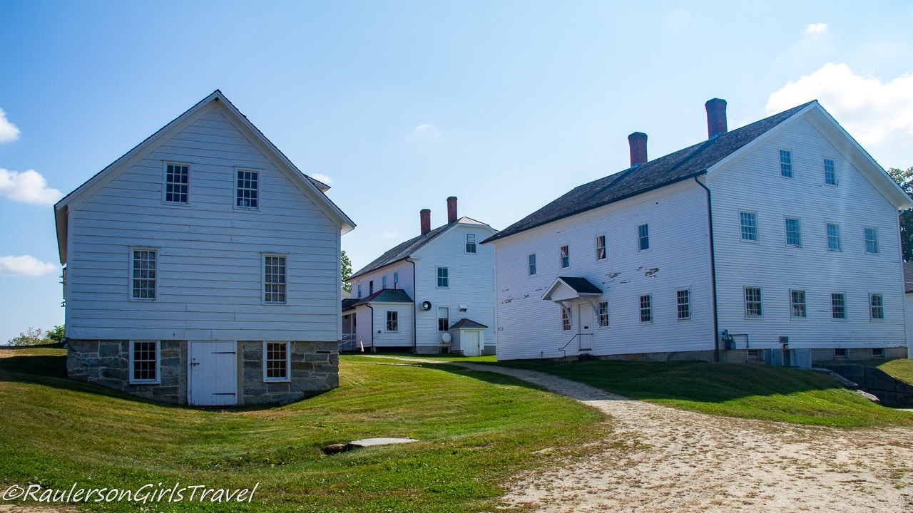 Carpenters' Shop on the left, Brethren's Shop and Creamery on the right in Canterbury Shaker Village
