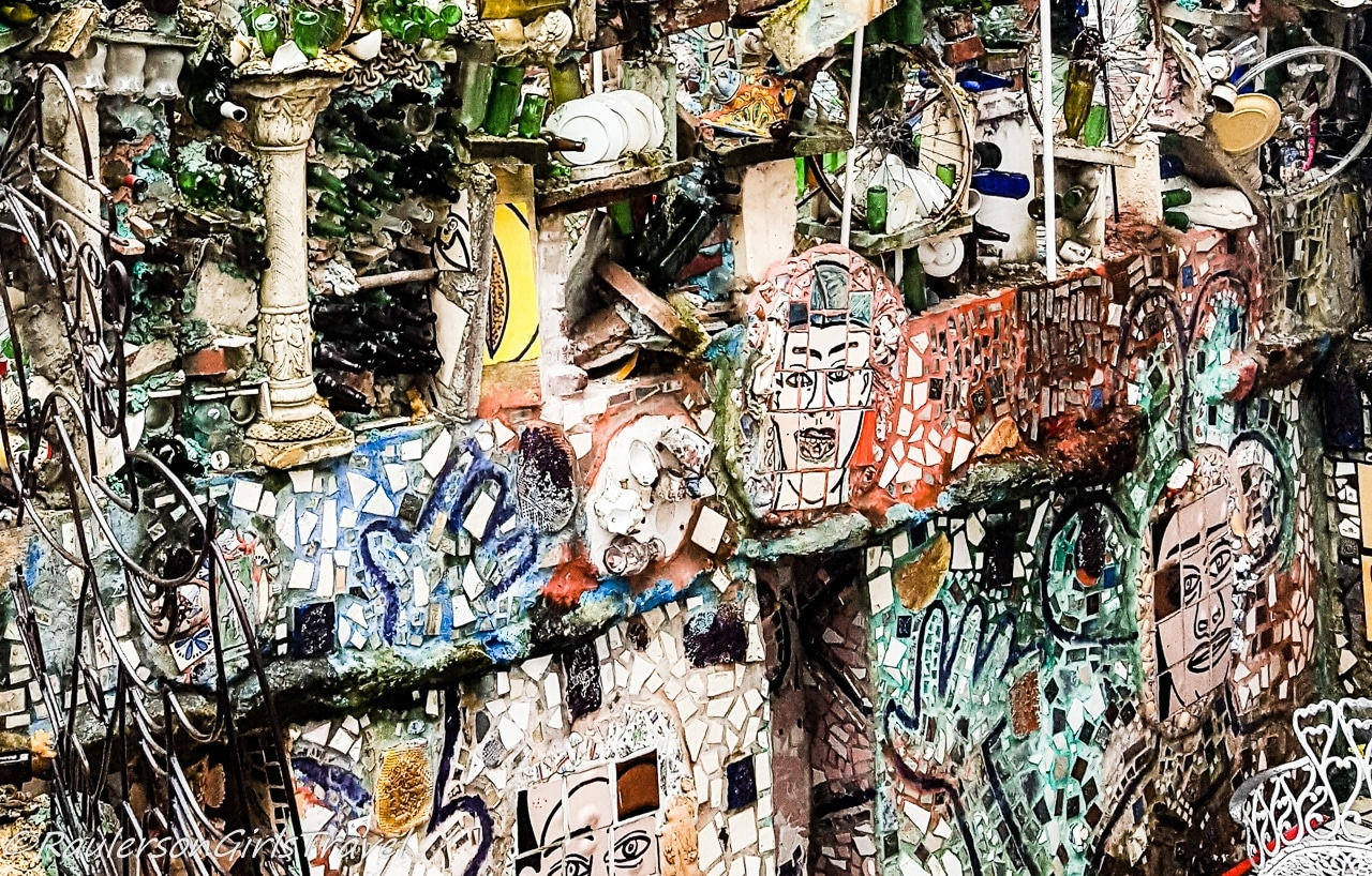 Faces painted on tile at the Magic Gardens in Philadelphia