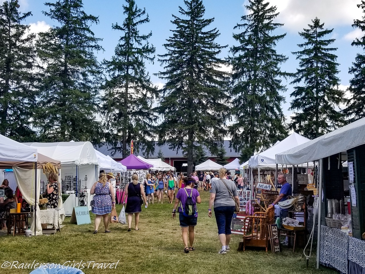 People walking through the Michigan Lavender Festival