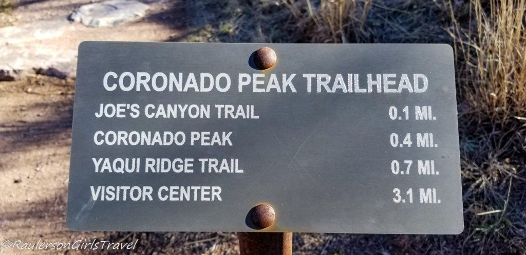 Coronado Peak Trail Head Sign