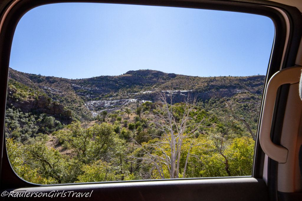 View of Coronado National Memorial from the car window