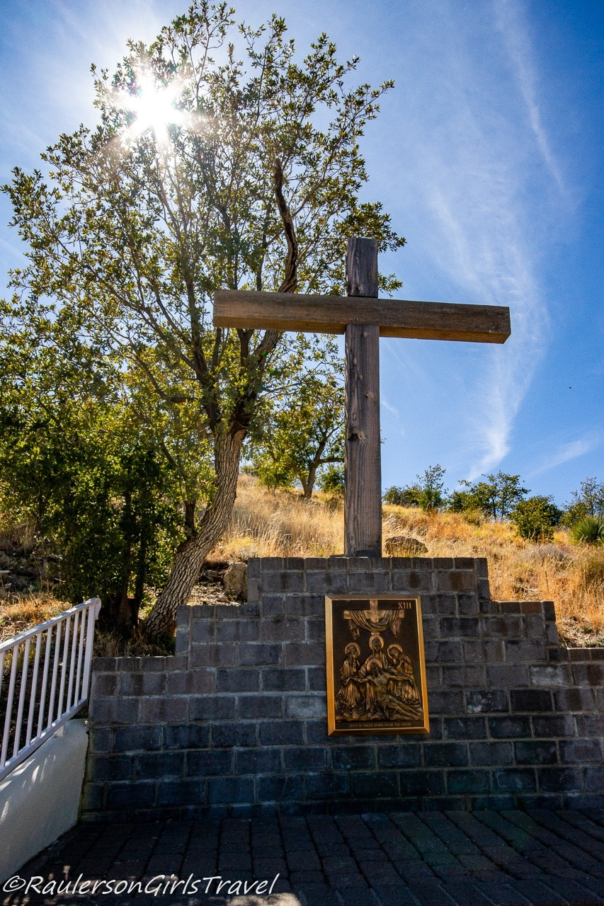 The 13th Station of the Cross at Our Lady of the Sierras with the sun shining down