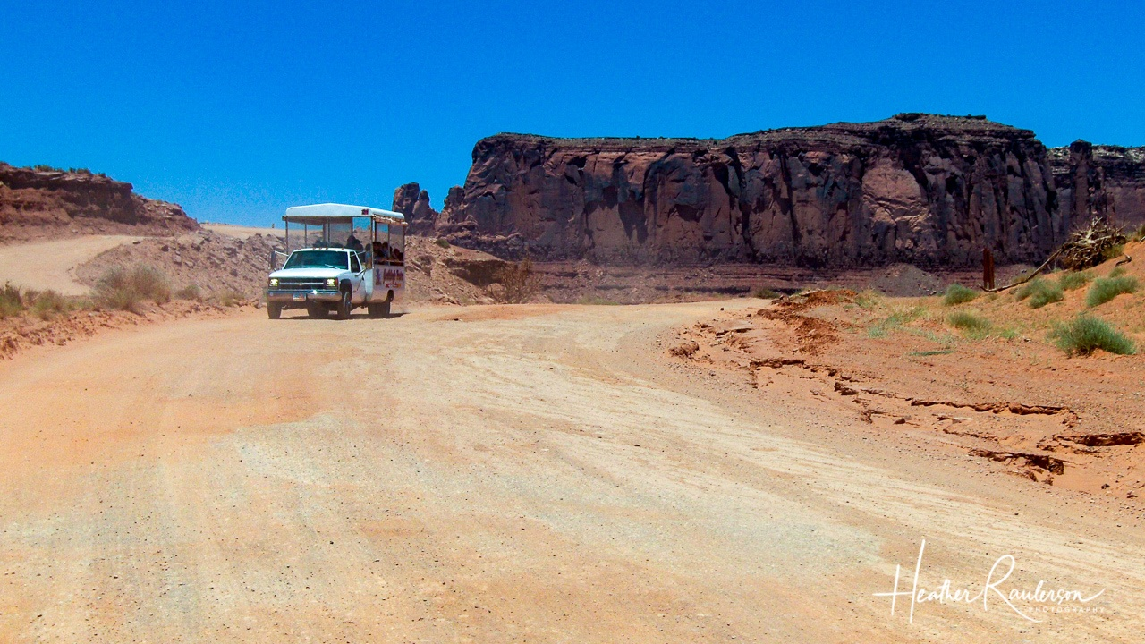 The Goulding's Tour bus heading into Monument Valley