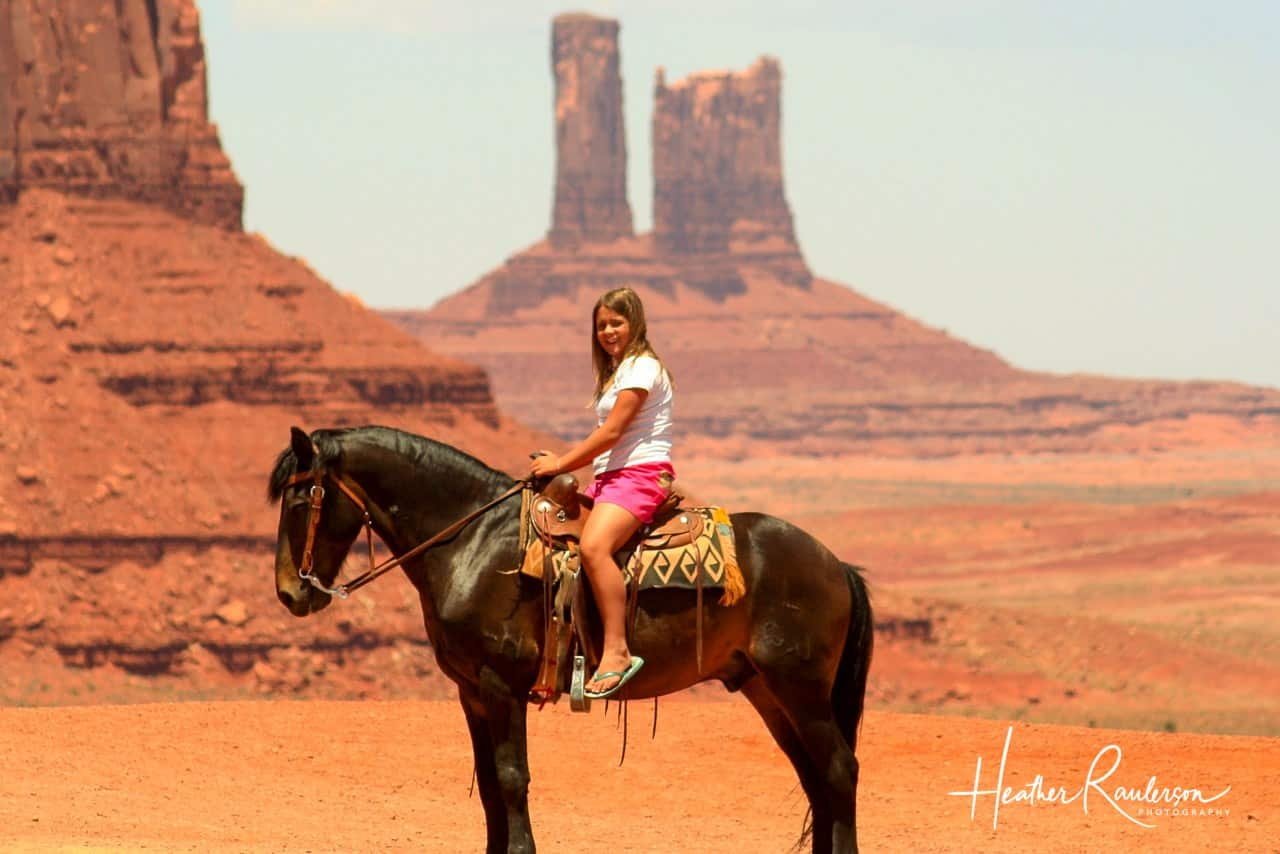 Kayla on a horse in Monument Valley