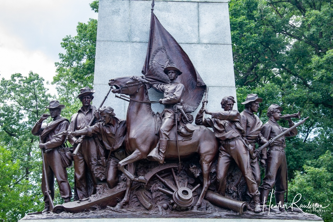 Bronze group of figures representing the Artillery, Infantry, and Cavalry of the Confederate Army on the Virginia Memorial
