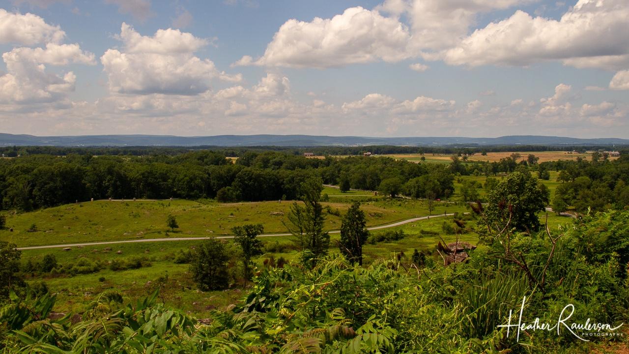 View of Gettysburg battlefield from Little Round Top