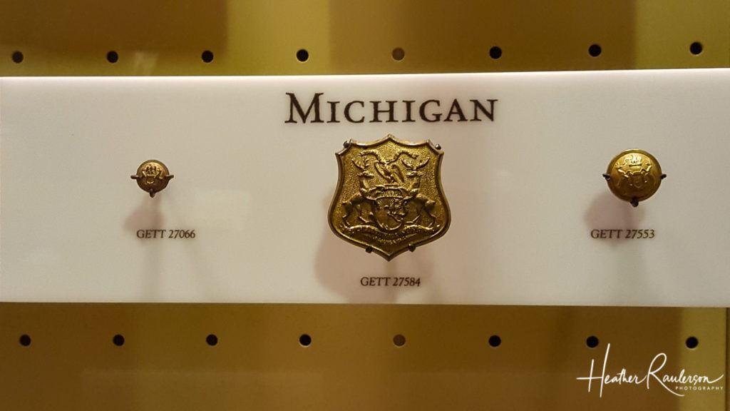 Michigan Insignia from Civil War Uniforms at Gettysburg Museum