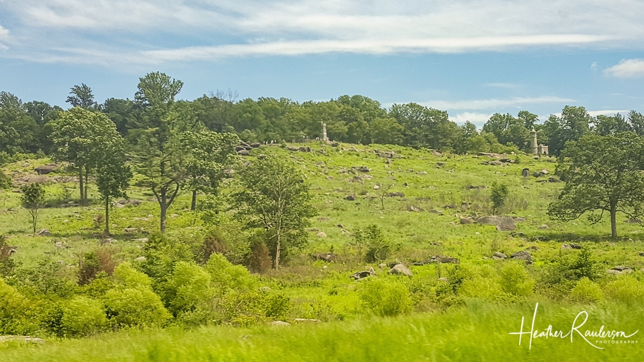 View from the tour bus of Little Round Top