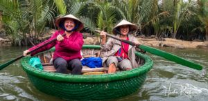 Heather and Lyla in a Coconut Basket Boat in Vietnam