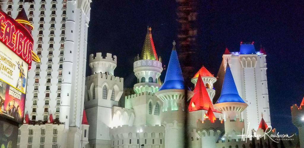 Excalibur Hotel & Casino in Las Vegas lit at night