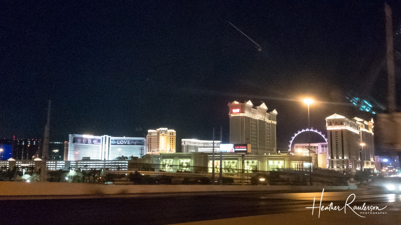 View from the back of Las Vegas Strip at night