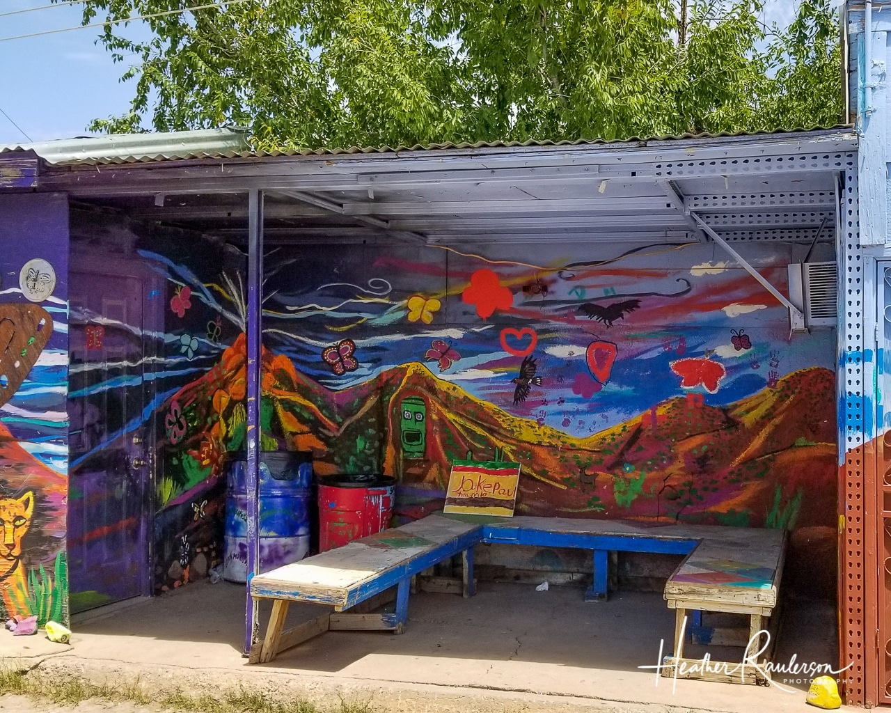 Volcano street art alcove in Naco, Mexico