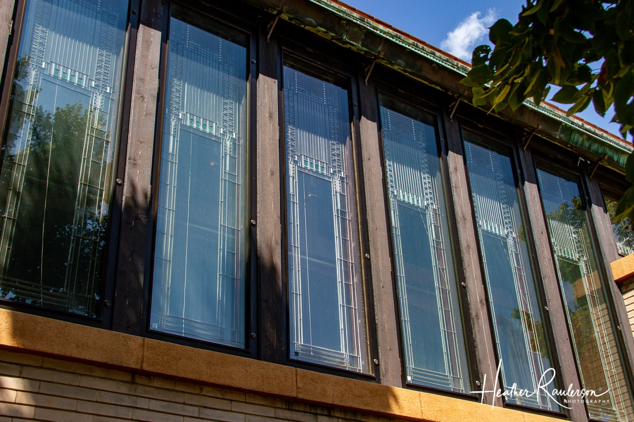 Frank Lloyd Wright designed windows at the Dana Thomas House