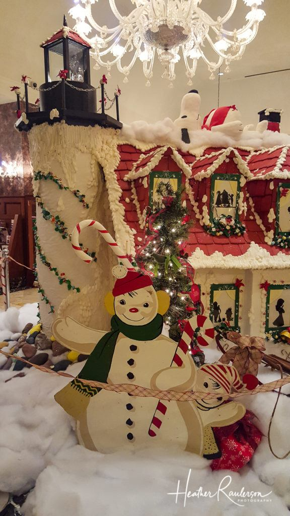 Snoopy and the Royal Park Hotel Gingerbread Lighthouse