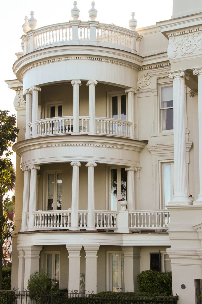 White curved balcony in Charleston