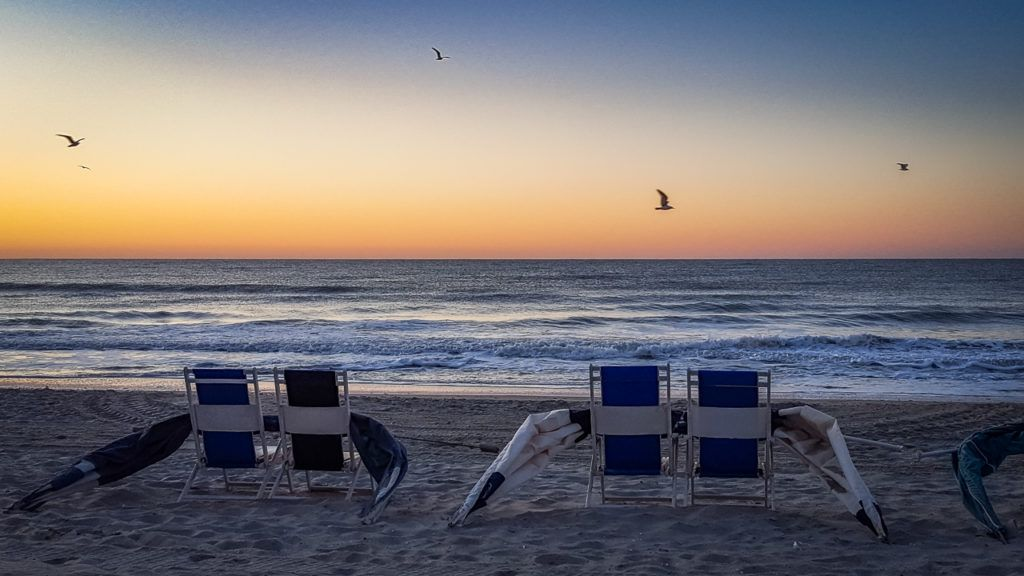 Beach Chairs and Seagulls at Myrtle Beach
