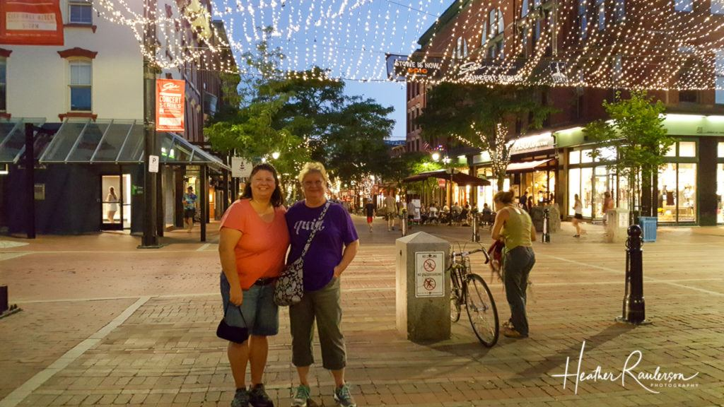 Heather and Loraine in downtown Burlington at night