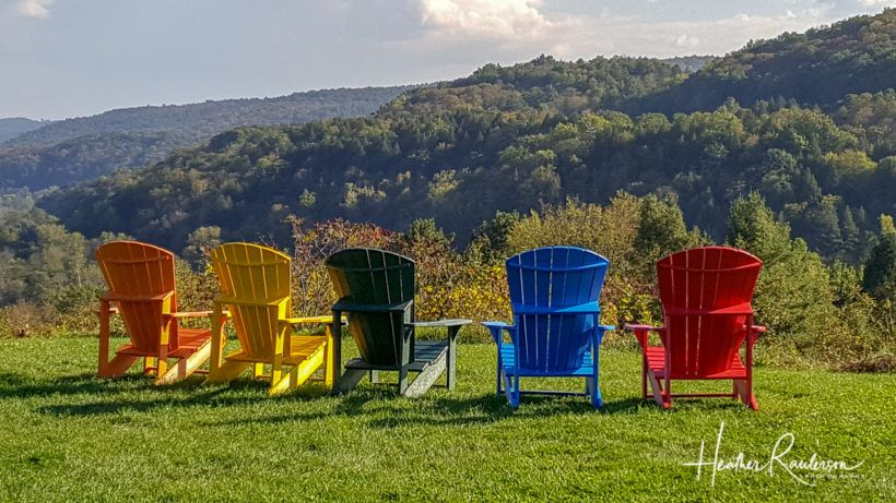 Adirondack chairs at the Vermont Visitor center