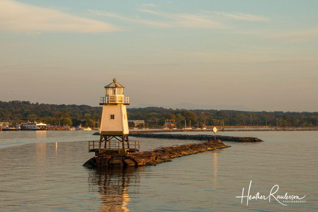 Burlington Breakwater Lighthouse at Sunset