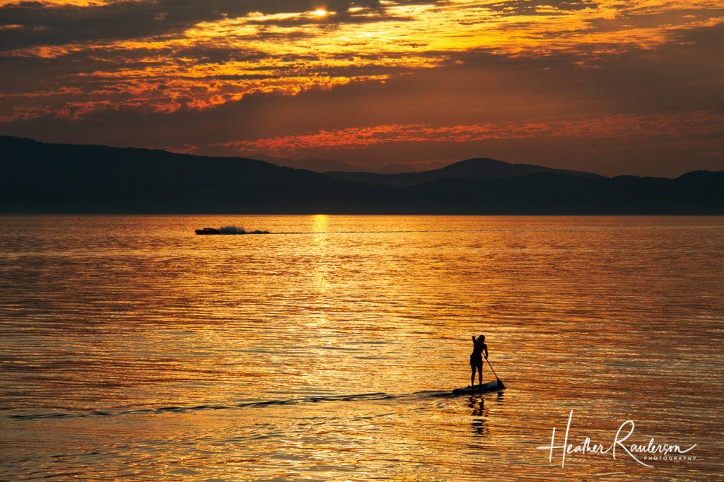 Paddle Boarder at Sunset on Lake Champlain