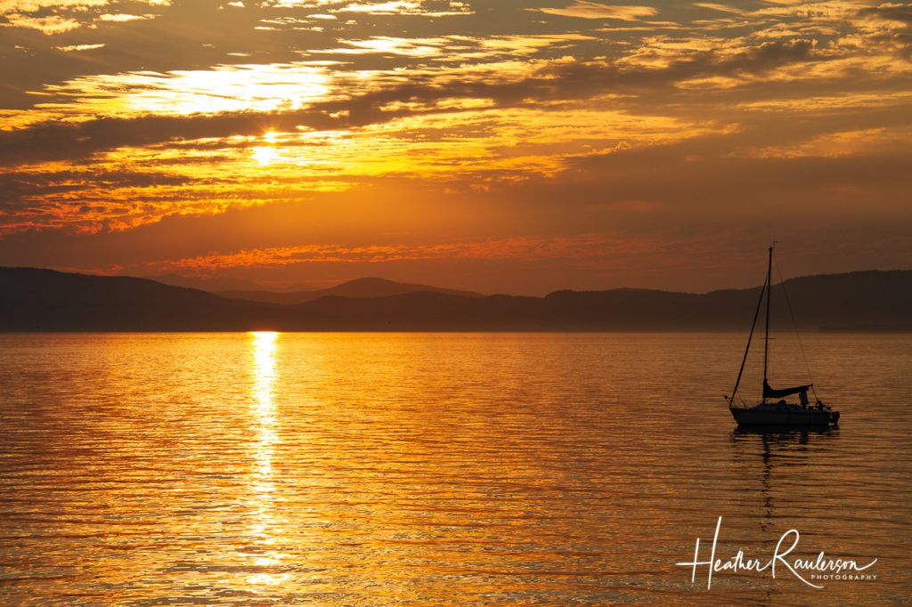Sailboat on Lake Champlain in Vermont