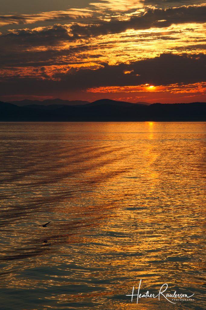 Water rippling on Lake Champlain at sunset