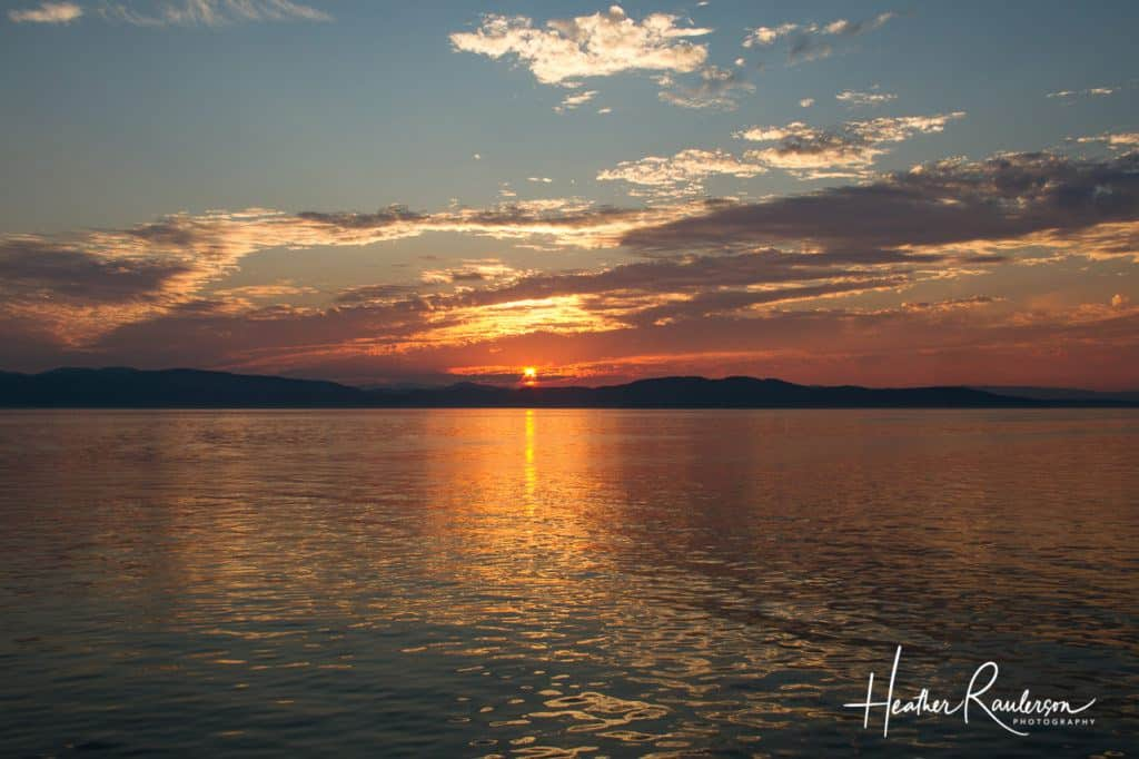 View of the sunset on Lake Champlain