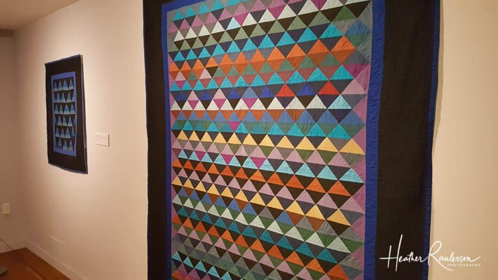 Colorful triangle quilt at the Shelburne Museum