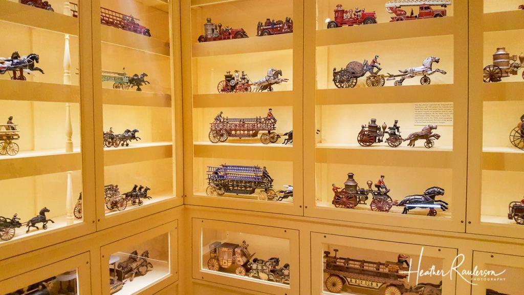 Vintage Fire Trucks Displayed in the Toy Shop