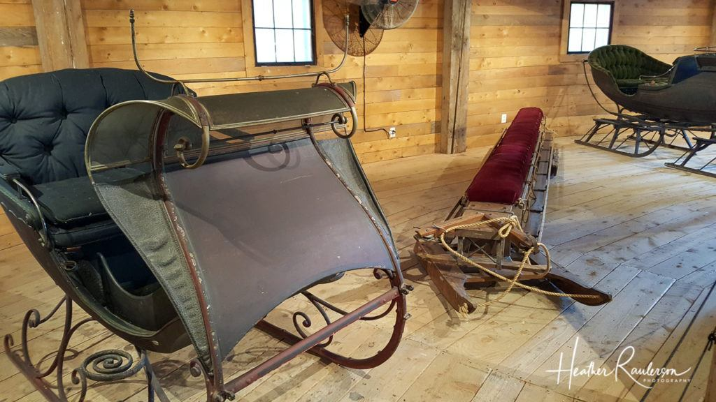 Winter Sleighs displayed in the Round Barn